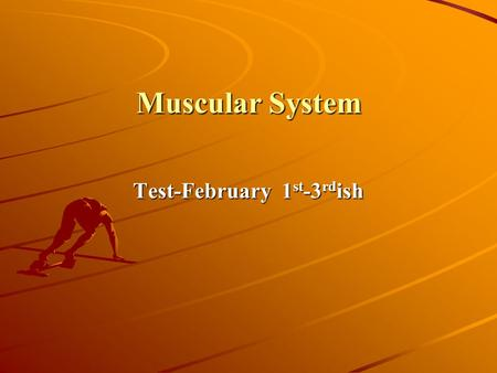 Muscular System Test-February 1 st -3 rd ish. 1-14-13 DSQ 34B Clean out notes Body Diagram Go over Test A 92--85 B 84-77 C 76-64 D 63-55 F 54-0 OBJ 