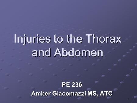 1 Injuries to the Thorax and Abdomen PE 236 Amber Giacomazzi MS, ATC.