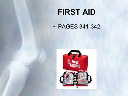 FIRST AID PAGES 341-342. Minor Injuries Muscle Cramp Sudden and sometimes painful contractions of the muscles Occur when muscles are: –Tired –Overworked.