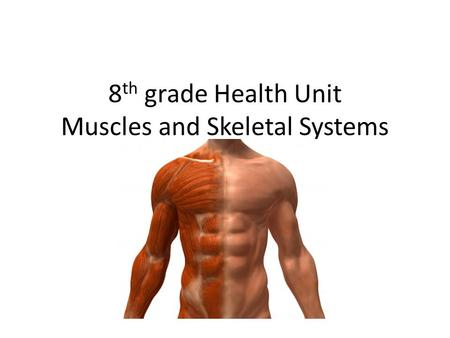 8 th grade Health Unit Muscles and Skeletal Systems.