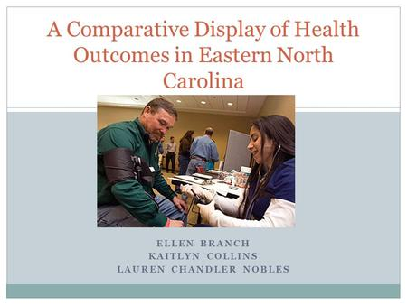 ELLEN BRANCH KAITLYN COLLINS LAUREN CHANDLER NOBLES A Comparative Display of Health Outcomes in Eastern North Carolina.