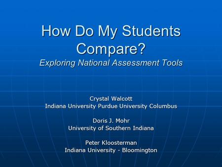How Do My Students Compare? Exploring National Assessment Tools Crystal Walcott Indiana University Purdue University Columbus Doris J. Mohr University.