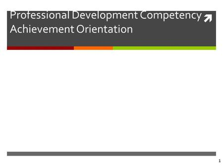  1 Professional Development Competency Achievement Orientation.