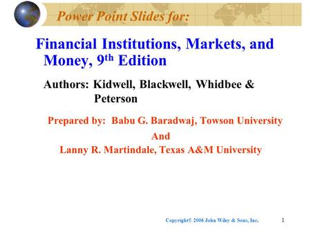 Power Point Slides for: