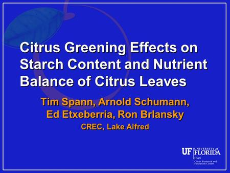 Citrus Greening Effects on Starch Content and Nutrient Balance of Citrus Leaves Tim Spann, Arnold Schumann, Ed Etxeberria, Ron Brlansky CREC, Lake Alfred.