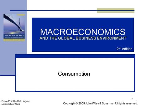1 MACROECONOMICS AND THE GLOBAL BUSINESS ENVIRONMENT Consumption Copyright © 2005 John Wiley & Sons, Inc. All rights reserved. PowerPoint by Beth Ingram.