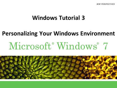 ®® Microsoft Windows 7 Windows Tutorial 3 Personalizing Your Windows Environment.