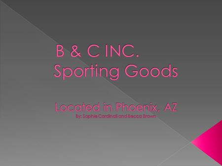  Proposed Products for Shipment:  Tennis Racquets  Softball Bats  Field Hockey Sticks  Lacrosse Sticks.