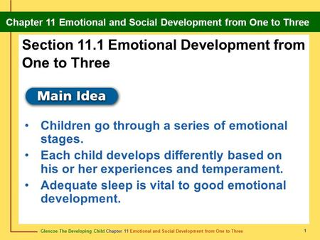 Glencoe The Developing Child Chapter 11 Emotional and Social Development from One to Three Chapter 11 Emotional and Social Development from One to Three.