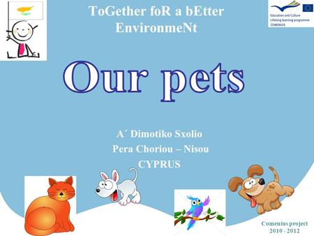 ToGether foR a bEtter EnvironmeNt Comenius project 2010 - 2012 Α΄ Dimotiko Sxolio Pera Choriou – Nisou CYPRUS.