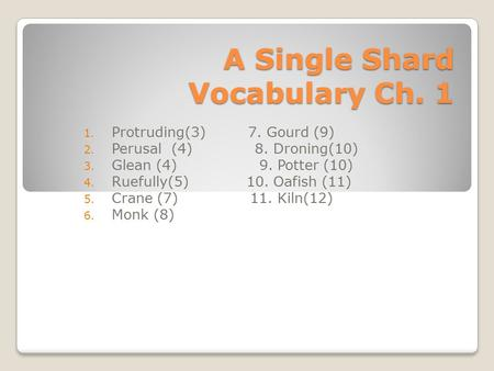 A Single Shard Vocabulary Ch. 1 1. Protruding(3) 7. Gourd (9) 2. Perusal (4) 8. Droning(10) 3. Glean (4) 9. Potter (10) 4. Ruefully(5) 10. Oafish (11)