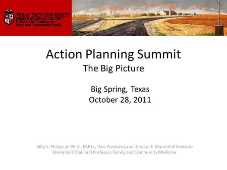 Action Planning Summit The Big Picture Billy U. Philips, Jr. Ph.D., M.P.H., Vice President and Director F. Marie Hall Institute Marie Hall Chair and Professor,