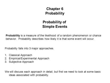 Probability Simple Events