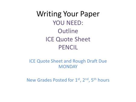 Writing Your Paper YOU NEED: Outline ICE Quote Sheet PENCIL