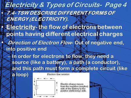 Electricity & Types of Circuits- Page 4 7.4- TSW DESCRIBE DIFFERENT FORMS OF ENERGY (ELECTRICITY).7.4- TSW DESCRIBE DIFFERENT FORMS OF ENERGY (ELECTRICITY).
