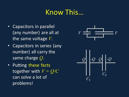 Know This… Capacitors in parallel (any number) are all at the same voltage V. Capacitors in series (any number) all carry the same charge Q. Putting these.