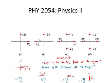PHY 2054: Physics II. Calculate the Electric Field at P Calculate the el. potential at P.