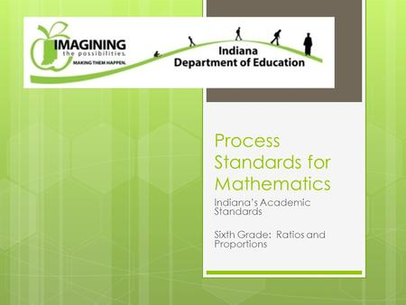 Process Standards for Mathematics Indiana's Academic Standards Sixth Grade: Ratios and Proportions.