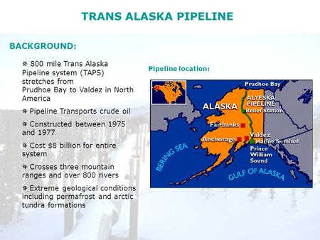 TRANS ALASKA PIPELINE 800 mile Trans Alaska Pipeline system (TAPS) stretches from Prudhoe Bay to Valdez in North America Pipeline Transports crude oil.