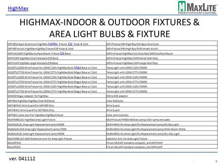 HighMax-Indoor & Outdoor Fixtures & Area Light Bulbs & Fixture