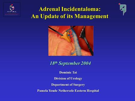 Adrenal Incidentaloma: An Update of its Management 18 th September 2004 Dominic Tai Division of Urology Department of Surgery Pamela Youde Nethersole Eastern.