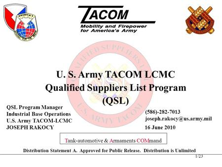 Qualified Suppliers List Program