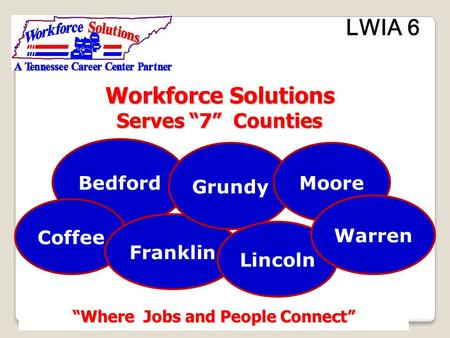 "Workforce Solutions Workforce Solutions Serves ""7"" Counties Serves ""7"" Counties ""Where Jobs and People Connect"" LWIA 6 Bedford Coffee Franklin Grundy Lincoln."