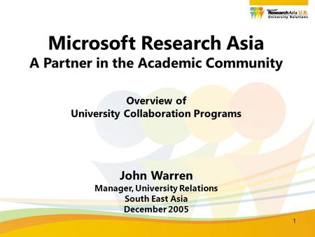 1 Microsoft Research Asia A Partner in the Academic Community Overview of University Collaboration Programs John Warren Manager, University Relations South.