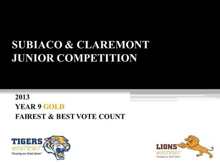 SUBIACO & CLAREMONT JUNIOR COMPETITION 2013 YEAR 9 GOLD FAIREST & BEST VOTE COUNT.