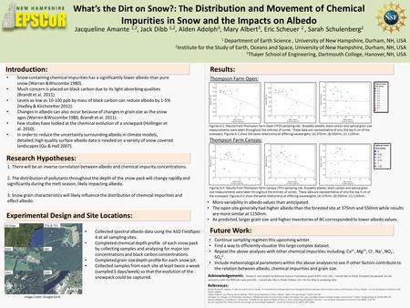 What's the Dirt on Snow?: The Distribution and Movement of Chemical Impurities in Snow and the Impacts on Albedo Introduction: Snow containing chemical.