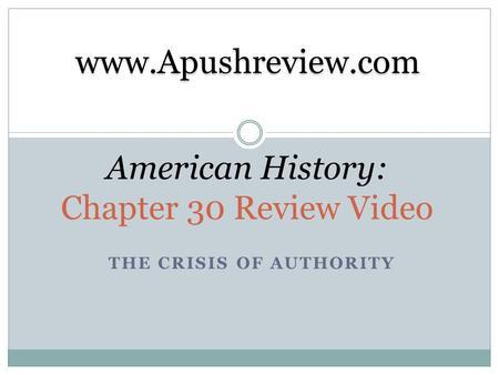 American History: Chapter 30 Review Video