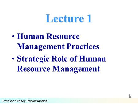 Lecture 1 Human Resource Management Practices