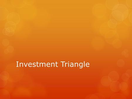 Investment Triangle. The ideal investment would provide all: it would be completely safe, it would provide you with a sufficient level of income to keep.