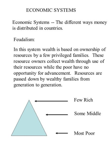 ECONOMIC SYSTEMS Economic Systems -- The different ways money is distributed in countries. Feudalism: In this system wealth is based on ownership of resources.