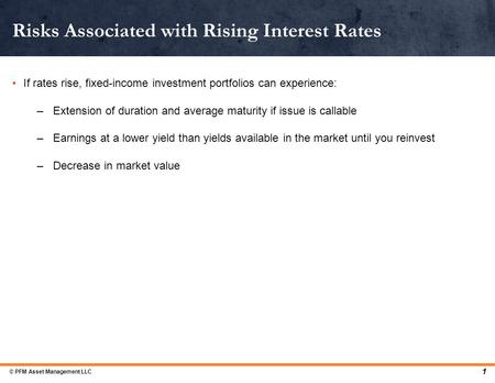 If rates rise, fixed-income investment portfolios can experience: –Extension of duration and average maturity if issue is callable –Earnings at a lower.