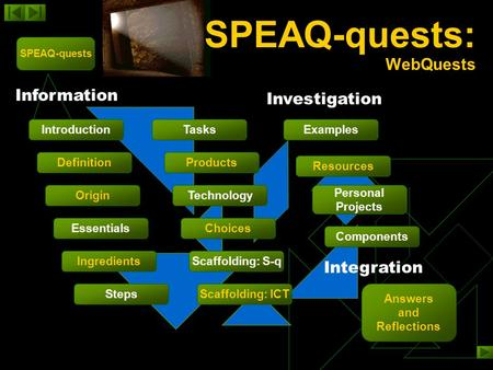 SPEAQ-quests: WebQuests SPEAQ-quests Steps Definition Introduction Origin Essentials Ingredients TasksExamples Products Technology Choices Scaffolding: