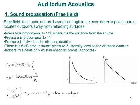 Auditorium Acoustics 1. Sound propagation (Free field) Free field: the sound source is small enough to be considered a point source, located outdoors away.
