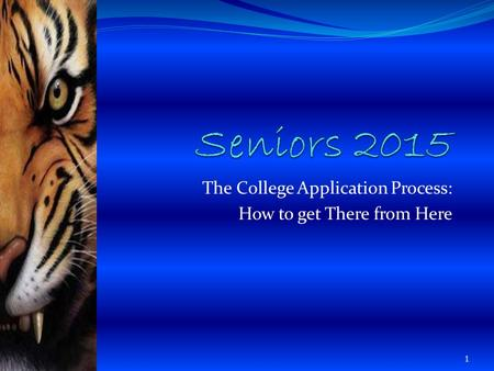 The College Application Process: How to get There from Here 1.