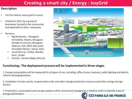 1 Creating a smart city / Energy : IssyGrid Description The first district smart grid in France Initiated in 2011 by a group of businesses located in the.