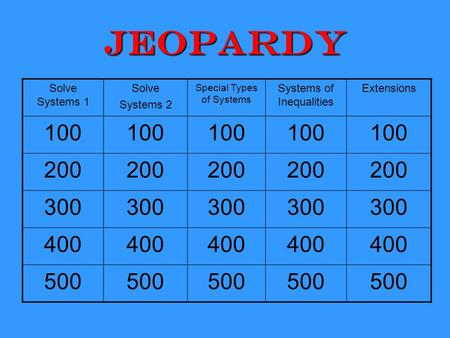 Jeopardy Solve Systems 1 Solve Systems 2