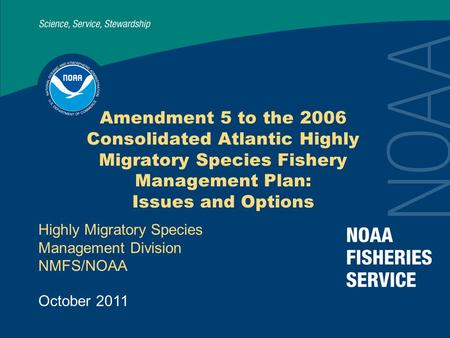 Amendment 5 to the 2006 Consolidated Atlantic Highly Migratory Species Fishery Management Plan: Issues and Options Highly Migratory Species Management.
