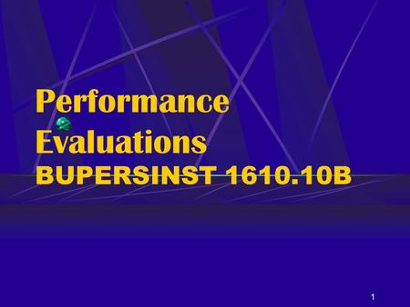 Performance Evaluations BUPERSINST B