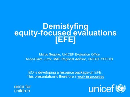 Demistyfing equity-focused evaluations [EFE]