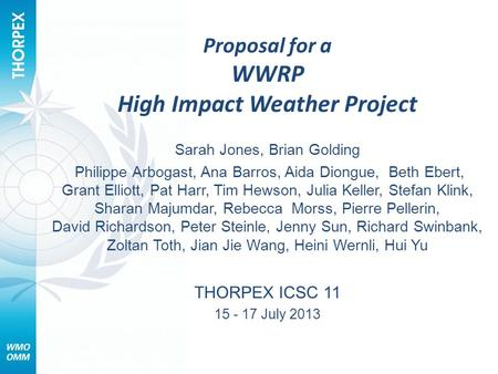 Proposal for a WWRP High Impact Weather Project Sarah Jones, Brian Golding Philippe Arbogast, Ana Barros, Aida Diongue, Beth Ebert, Grant Elliott, Pat.