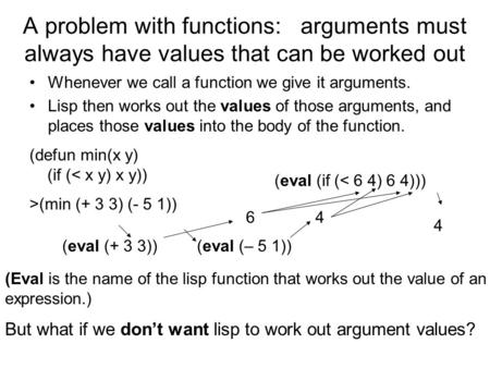 A problem with functions: arguments must always have values that can be worked out Whenever we call a function we give it arguments. Lisp then works out.