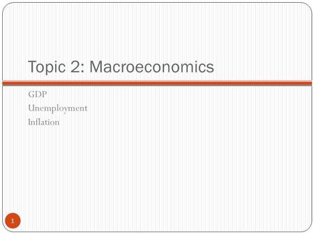 Topic 2: Macroeconomics GDP Unemployment Inflation 1.