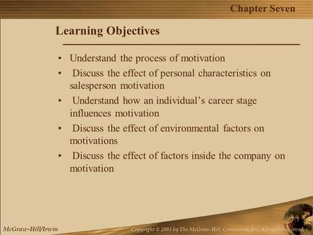 Chapter Seven McGraw-Hill/Irwin Copyright © 2003 by The McGraw-Hill Companies, Inc. All rights reserved. 7.1 Learning Objectives Understand the process.