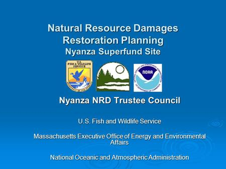 Nyanza NRD Trustee Council U.S. Fish and Wildlife Service Massachusetts Executive Office of Energy and Environmental Affairs National Oceanic and Atmospheric.