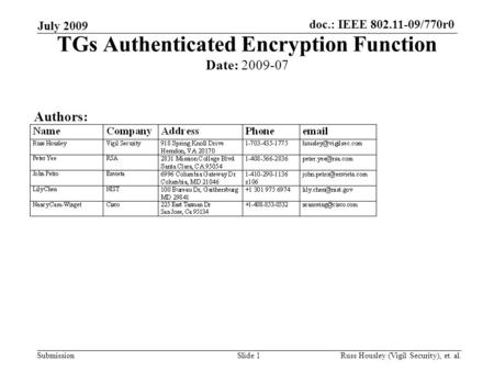 Doc.: IEEE 802.11-09/770r0 Submission July 2009 Slide 1 TGs Authenticated Encryption Function Date: 2009-07 Authors: Russ Housley (Vigil Security), et.