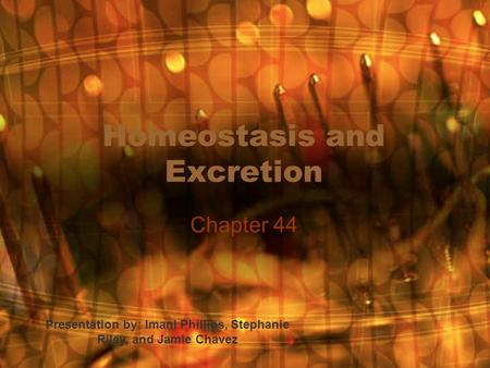 Homeostasis and Excretion Chapter 44 Presentation by: Imani Phillips, Stephanie Riley, and Jamie Chavez.